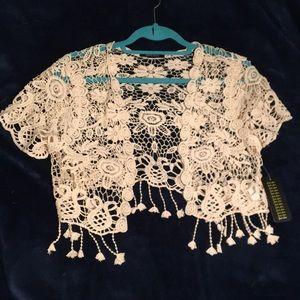 NEW shrug-shawl-cardigan sweater, lacey, fringe